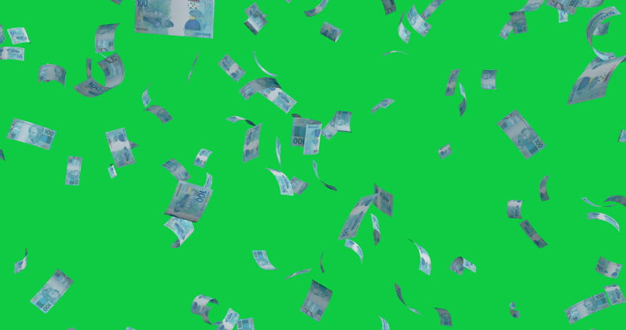 Flying 100 Brazilian real banknotes - 4K 60fps 3d render Isolated on green background | Shutterstock HD Video #1026720995