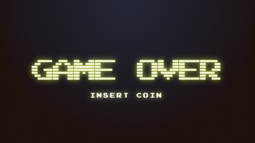 A videogame ending screen, saying Game over -  Insert coin. 8-bit retro style. Treated as it's from an old VHS cassette tape.