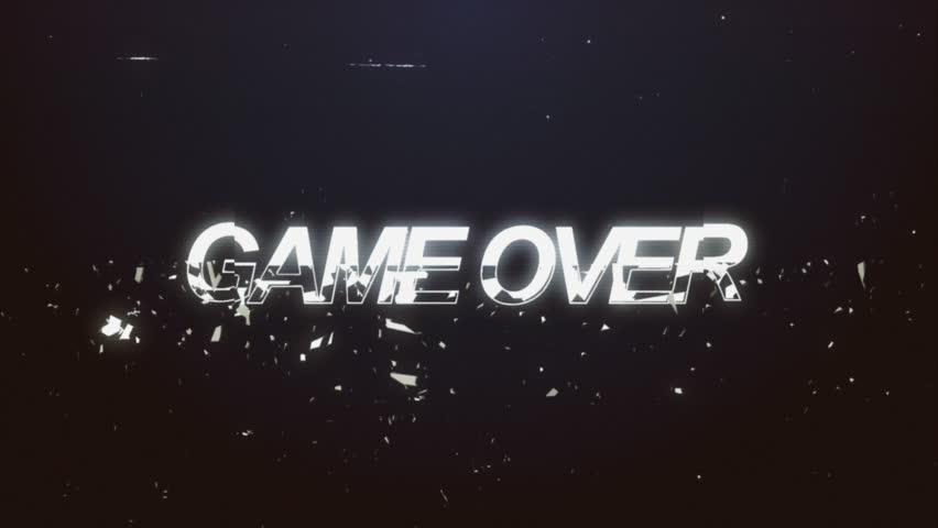 A videogame ending screen, saying Game over. 8-bit retro style. Treated as it's from an old VHS cassette tape.