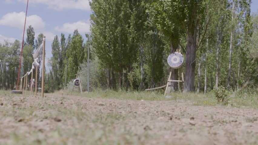 Horseman archer shoot arrows, equestrian sports   Shutterstock HD Video #1026769034