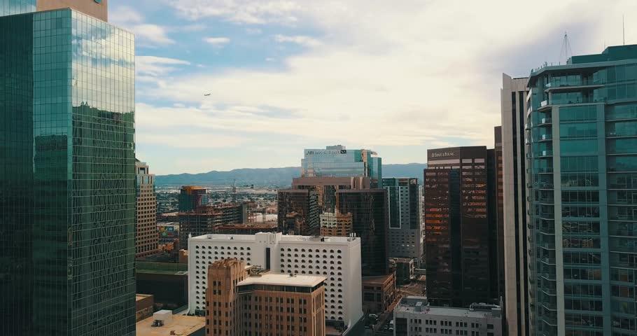 Aerial shoting through downtown phoenix west