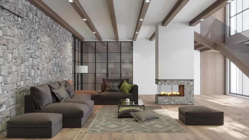 3D render. circled the interior of the living room in a modern style | Shutterstock HD Video #1026796595