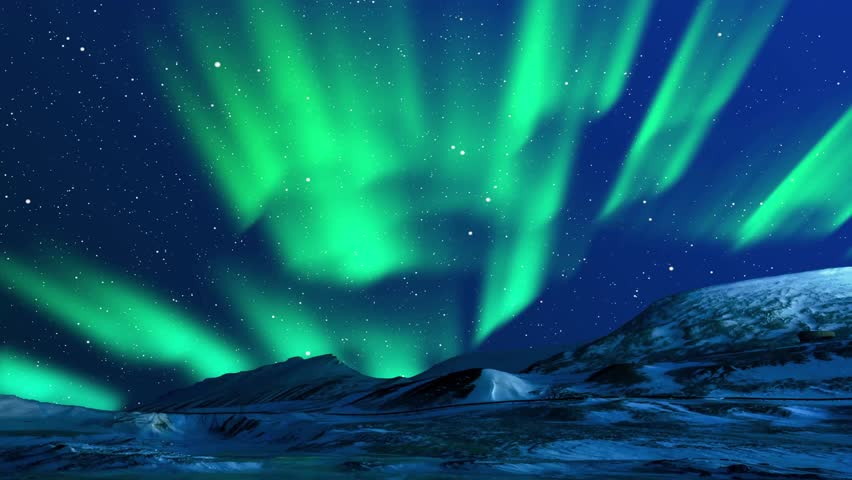 Beautiful Northern Lights Animation. Green Lights Aurora Borealis in Norway, Canada, Finland, Iceland and Sweden. Polar weather and blue starry sky on a cold night. Fantastic motion Background in 4k.