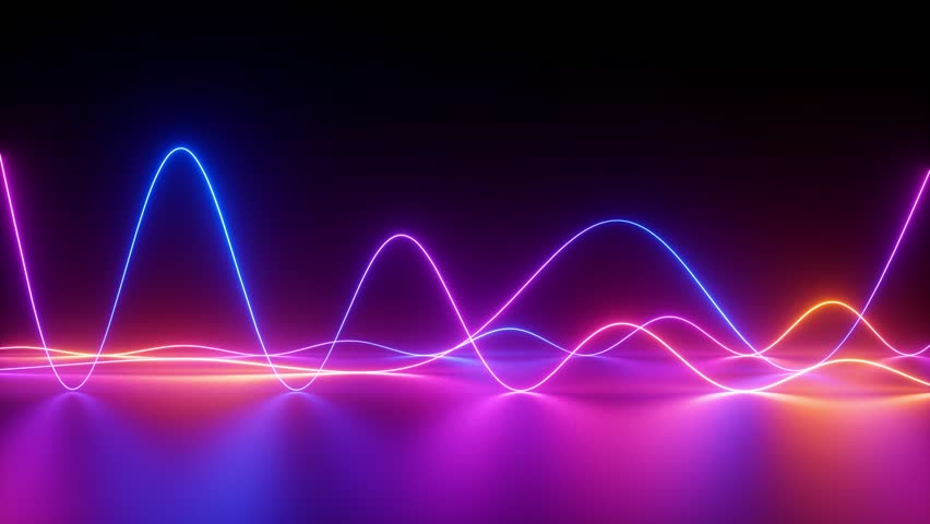 Glowing neon lines, abstract background, equalizer, signal chart, ultraviolet spectrum, laser show, impulse power, energy, chaotic waves, looped animation