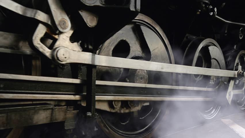 Old Vintage Locomotive Transportation Revolution History.Shot on Red