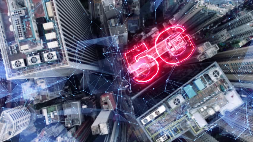AERIAL. 5G network digital hologram on city background.5G network wireless systems. Royalty-Free Stock Footage #1026824021