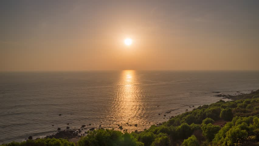 Sunset sun light coastline panorama 4k timelapse india | Shutterstock HD Video #1026829127