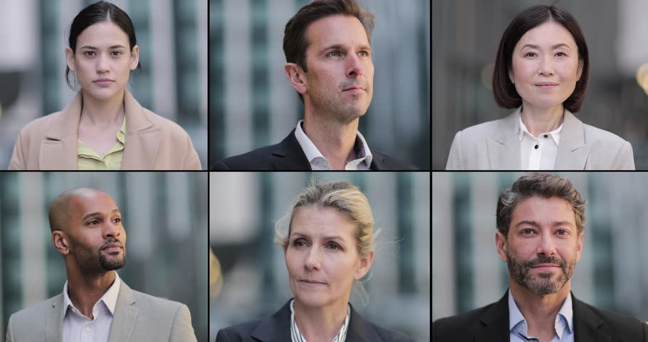 Montage of Business executive team, looking to camera, portrait