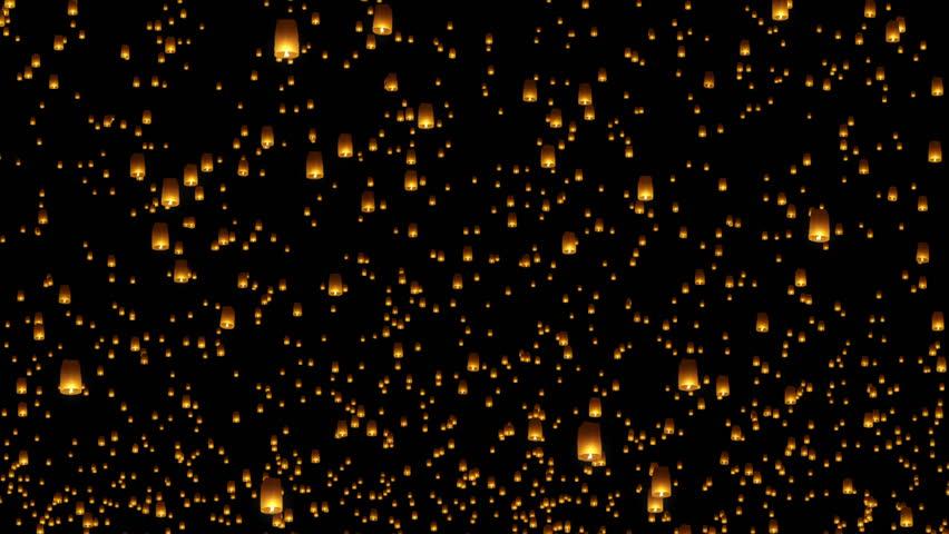 Sky Lantern Festival 4K Looped Animation Overlay #1026852410