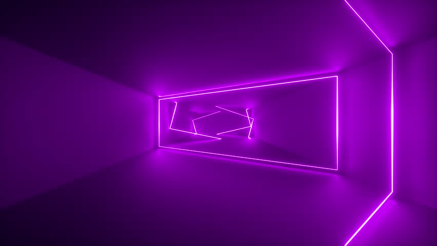flight through endless corridor, violet neon light, glowing lines, ultraviolet, purple frames, abstract neon background, virtual reality interface, moving inside tunnel #1026885275