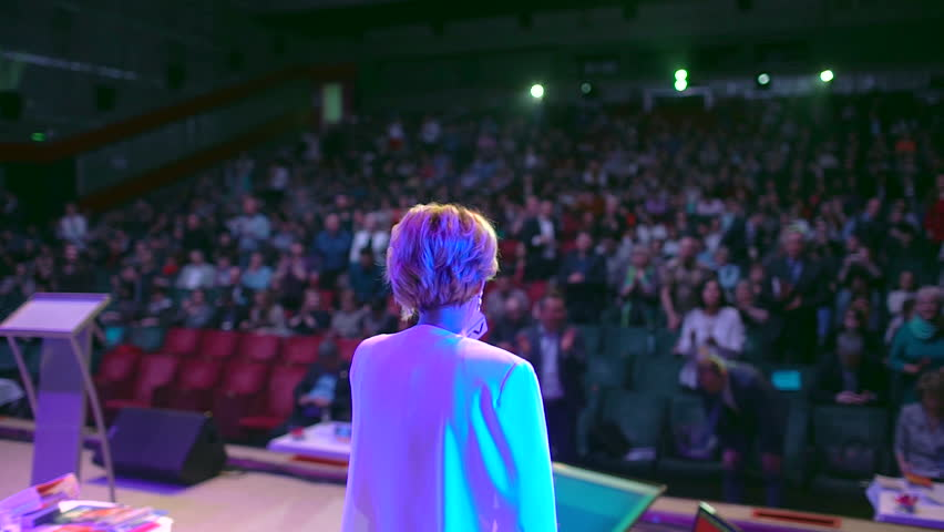 business people seminar audience from stage, conference meeting training coach speaker group businessman businesswoman training studying seminar, speech about management economics  problem TV host Royalty-Free Stock Footage #1026900101