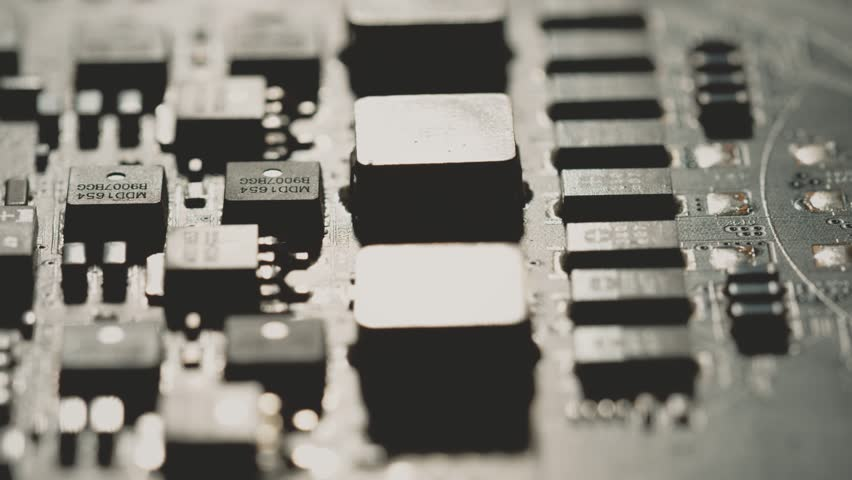 Computer PCB or printed circuit board macro. Shot or Red camera Royalty-Free Stock Footage #1026921593