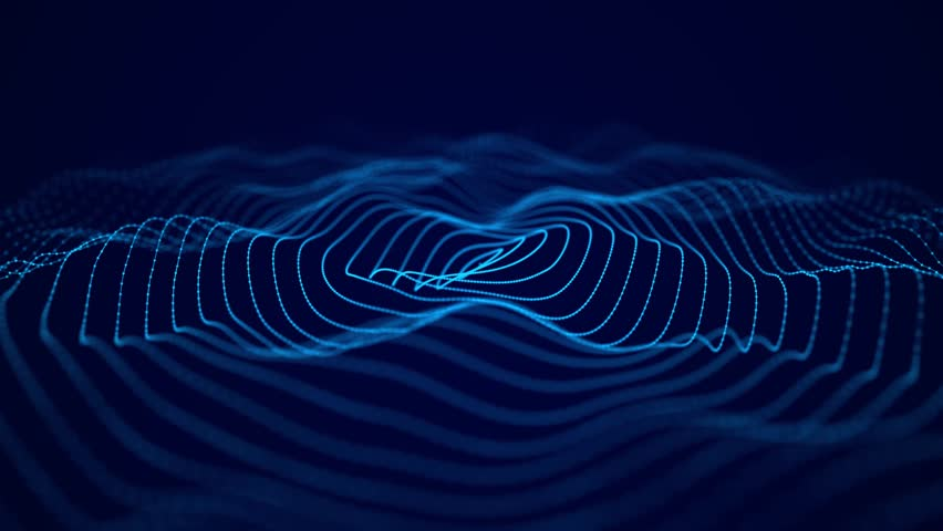 Wave of particles. Futuristic blue background with a dynamic wave. Big data. 3d rendering. Seamless loop.
