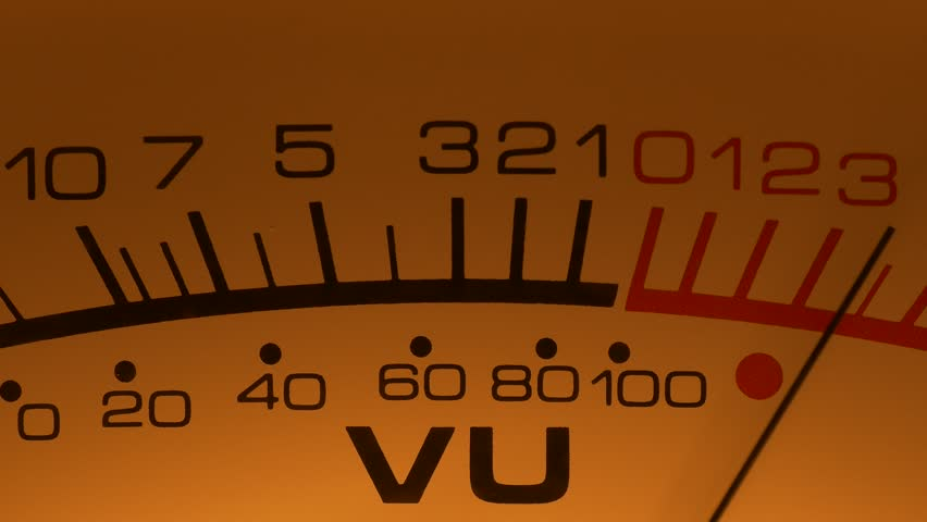 Ungraded: Analog VU meter arrow moves in sync with sound level of vintage hi-end reel-to-reel tape recorder. Ungraded H.264 from camera without re-encoding. | Shutterstock HD Video #1026945239