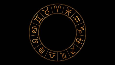 Golden zodiac wheel with 13 zodiac symbols including Ophiuchus spinning on transparent background. Loop animation. 4k video. Alpha channel