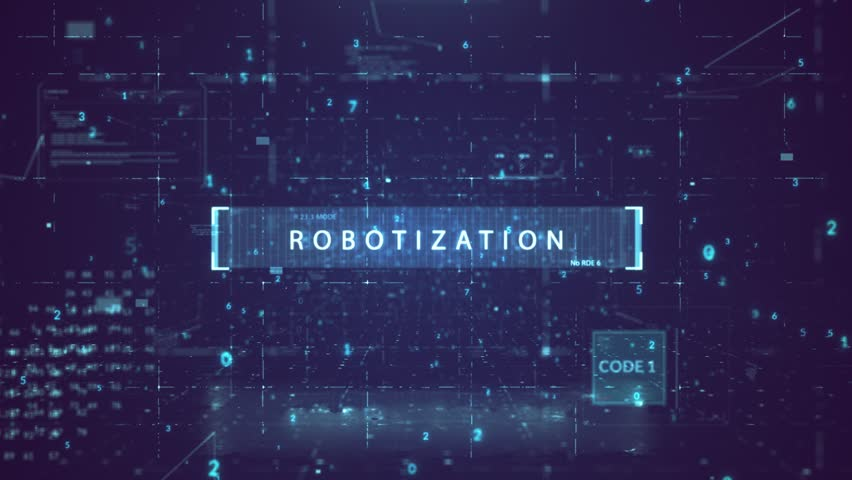 """The animated inscription """"ROBOTIZATION"""" typing writing on digital dark violate background. Futuristic information technology concept. Digitalization of Information Flow Moving Through IT digital 