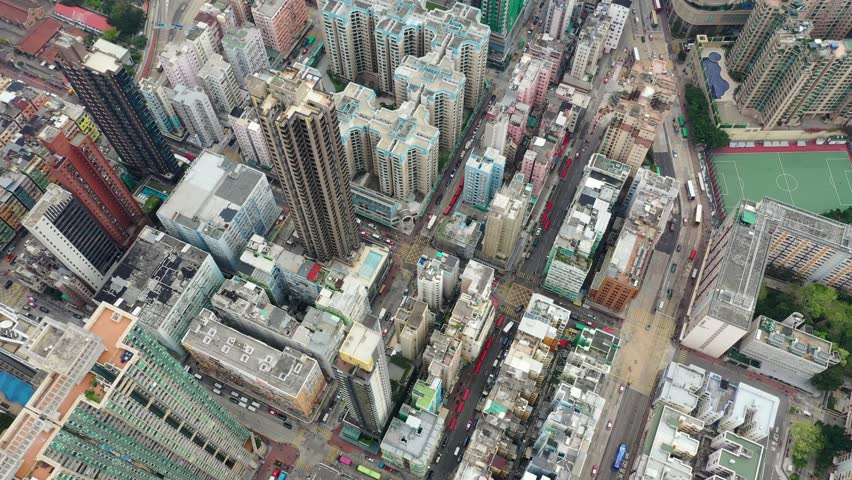 Kowloon City, Hong Kong, 04 April 2019: Drone fly over Hong Kong city #1026969434