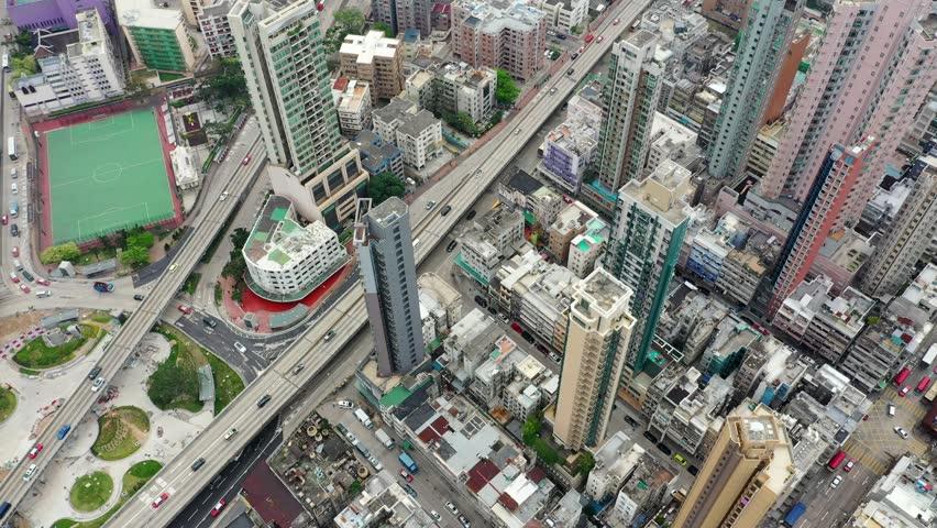 Kowloon City, Hong Kong, 04 April 2019: Drone fly over Hong Kong city #1026969440