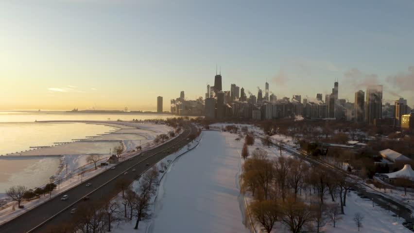 Aerial footage of Frozen Lake Michigan during 2019 Polar Vortex, Chicago, Illinois