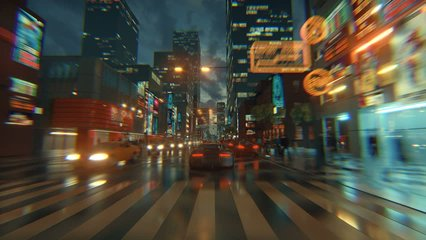3d fake Video Game. Racing simulation. night city. lights after rain. part 1 of 2.