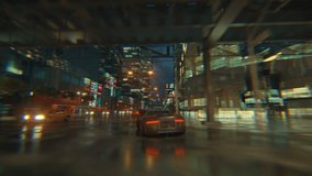 3d fake Video Game. Racing simulation. night city. lights after rain. part 2 of 2.
