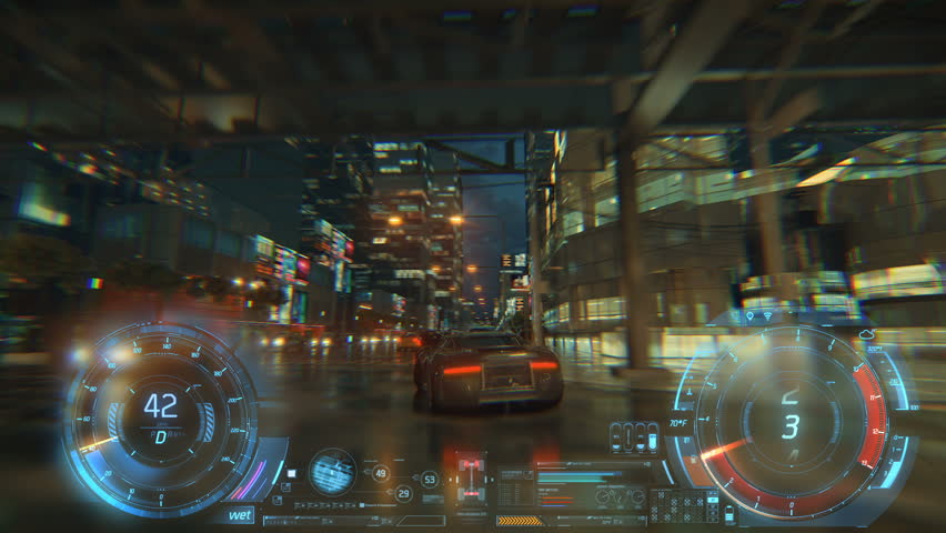 3d fake Video Game. Racing simulation. night city. lights after rain. part 2 of 2. Hud