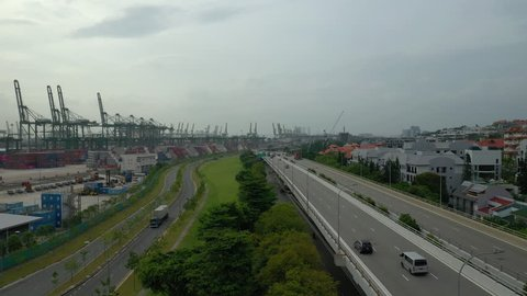 day time singapore city port bay traffic road aerial panorama 4k