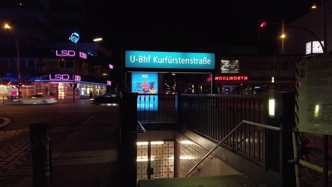 BERLIN, GERMANY - APRIL 6, 2019: People And Traffic At Metro Station Kurfurstenstrasse, Street Infamous And Famous For Prostitution, In Berlin, Germany At Night