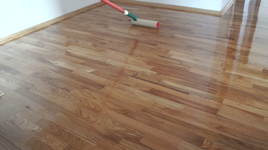 Varnishing Lacquering Parquet Floor By Stock Footage Video 100