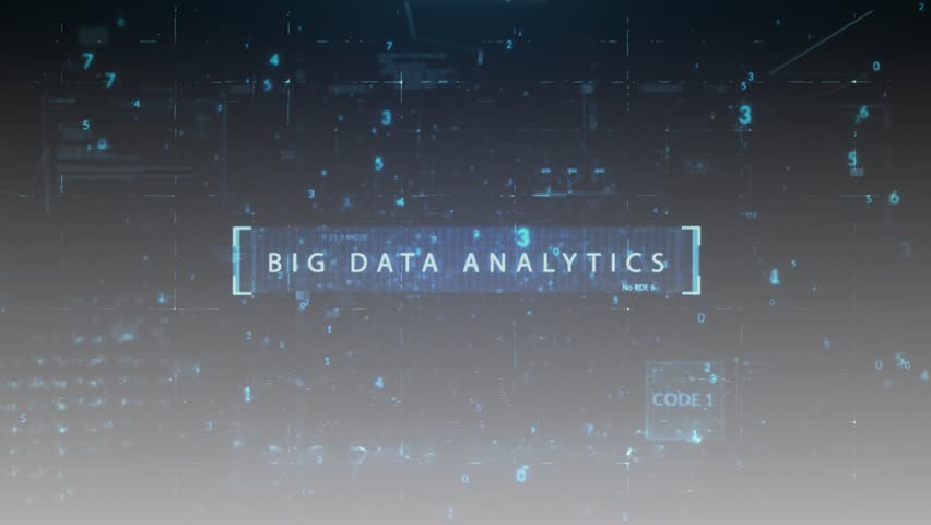 """The animated inscription """"BIG DATA ANALYTICS"""" typing writing on digital gray background. Futuristic information technology concept. Digitalization of Information Flow Moving Through IT digital 