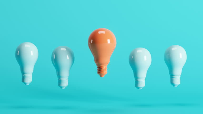 Outstanding orange light bulb among light blue light bulbs floating on blue background. 3D Animation. | Shutterstock HD Video #1027023893