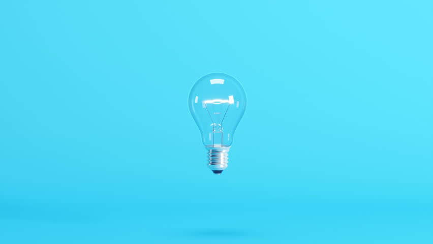 Outstanding light bulb floating on blue background. 3D Animation. | Shutterstock HD Video #1027023896