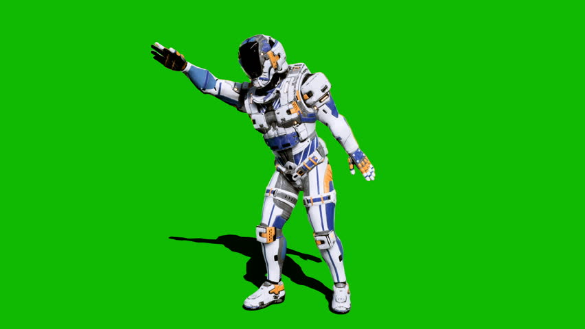 Astronaut-soldier of the future, dancing in front of a green screen. Looped realistic animation. #1027024565