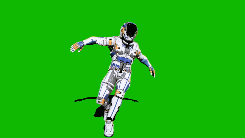 Astronaut-soldier of the future, dancing in front of a green screen. Looped realistic animation. #1027024580
