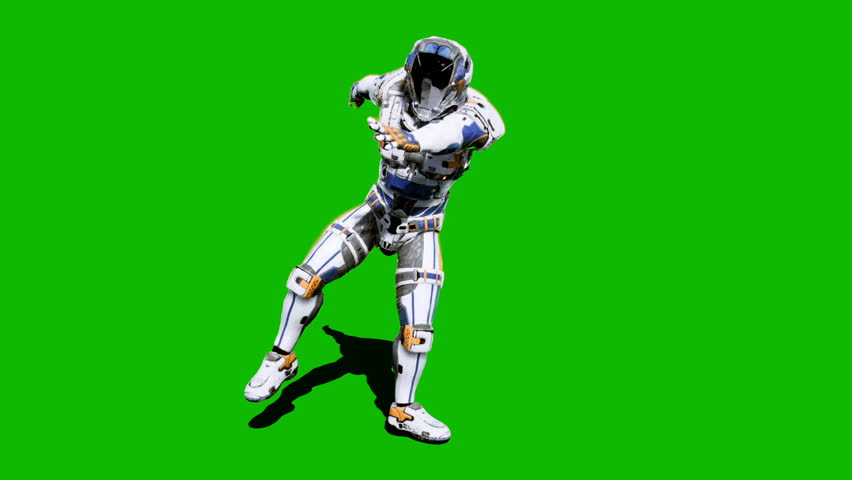 Astronaut-soldier of the future, dancing in front of a green screen. Looped realistic animation. #1027024598
