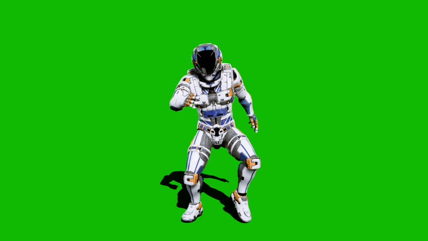 Astronaut-soldier of the future, dancing in front of a green screen. Realistic animation. #1027024613