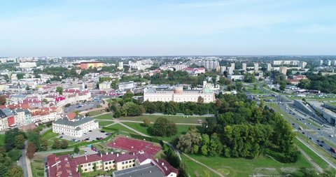 Lublin flight to the castle. Lublin city panorama from a bird's eye view.
