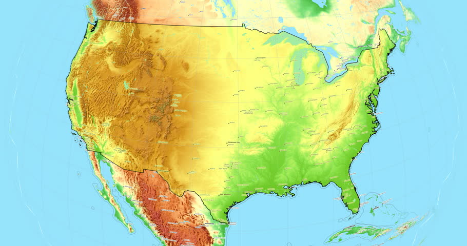 topographic map of the united states of america United States Of America Washington Stock Footage Video 100
