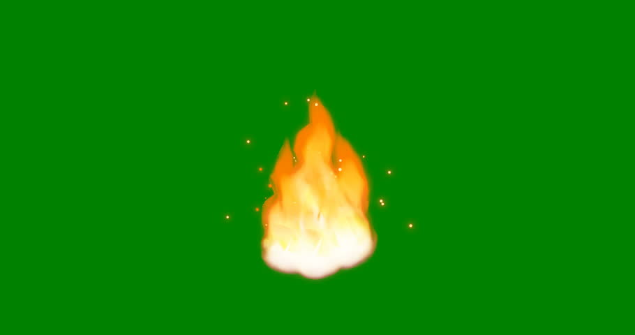 Cartoon Fire 4K. Flamethrower isolated on green screen background. Perfect for animations, digital composition 3D.