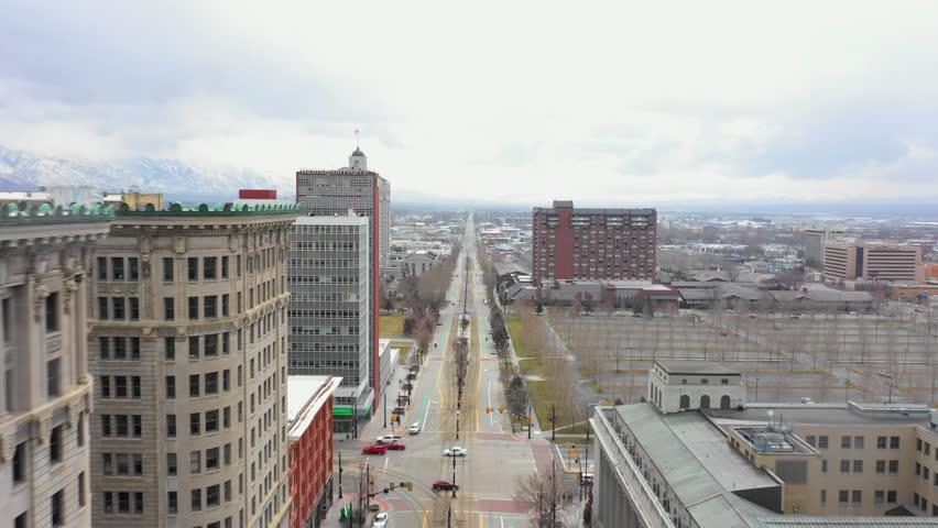 SALT LAKE CITY, UT, USA - MARCH 15, 2019: Stock footage Salt Lake City Utah 4k