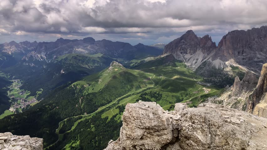 Sass Pordoi Dolomites Alps Mountains Italy 4k  | Shutterstock HD Video #1027090046