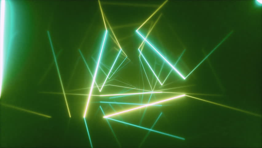 Abstract flying in futuristic corridor with triangles, seamless loop 4k background, fluorescent ultraviolet light, colorful laser neon lines, geometric endless tunnel, blue green spectrum, 3d render #1027099391