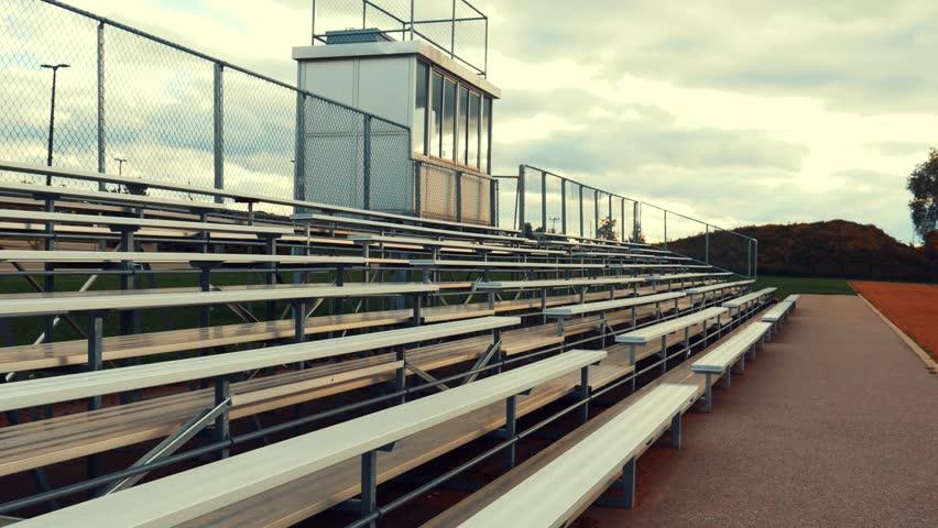 Bleachers in Sports Field - Pan Shot
