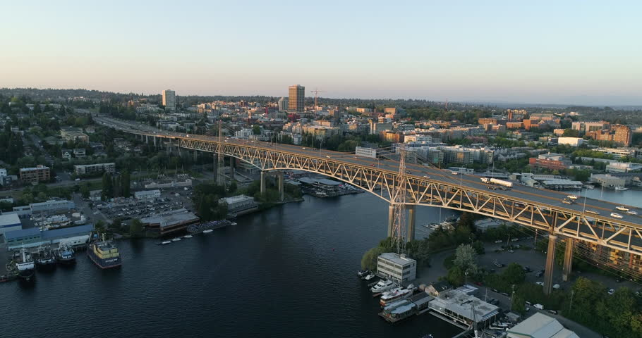 Seattle, Washington/USA - Summer 2018: View of University of Washington Interstate 5 Highway Bridge Fremont Wallingford Neighborhoods | Shutterstock HD Video #1027160102