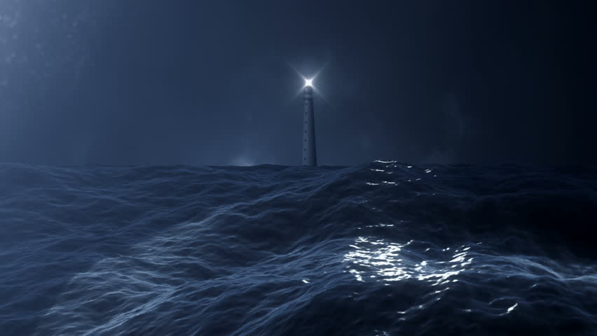 View on a Lighthouse from a Stormy Ocean