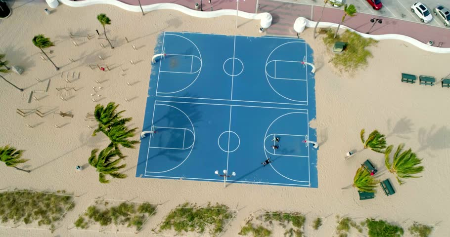 Fort Lauderdale, Florida / United States - September 22, 2018: Overhead Shot of Beach Basketball Court, Aerial Drone