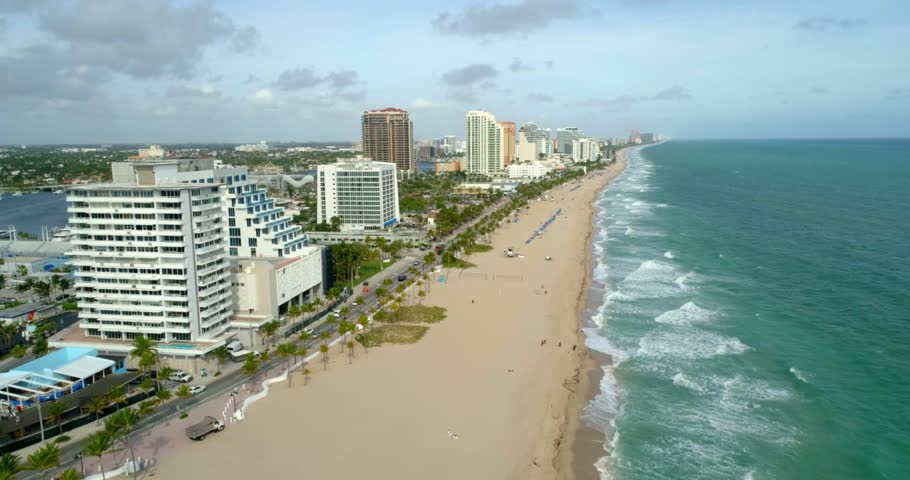 Fort Lauderdale, Florida / United States - September 22, 2018: Fort Lauderdale Beach, Aerial Drone   Shutterstock HD Video #1027174523