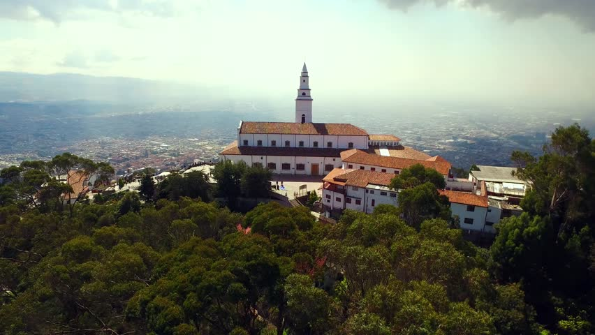 Monserrate, Impressive church on the mountain overlooking the city of Bogota | Shutterstock HD Video #1027182917