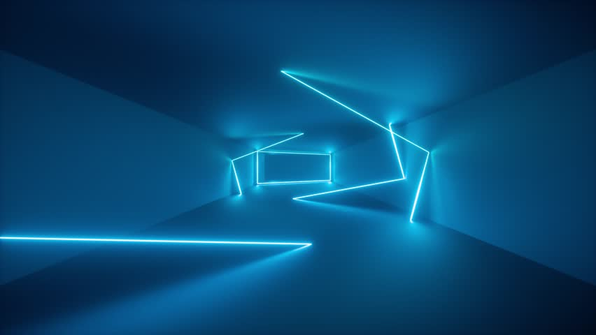 flight through endless corridor, blue neon light, glowing lines, frames, abstract neon background, virtual reality interface, moving inside tunnel #1027183826