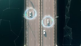 4k aerial view of self driving autopilot cars driving on a highway with technology tracking them, showing speed and who is controlling the car. Visual effects clip shot.